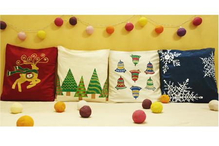 Christmasy cushion covers at Art Umbrella