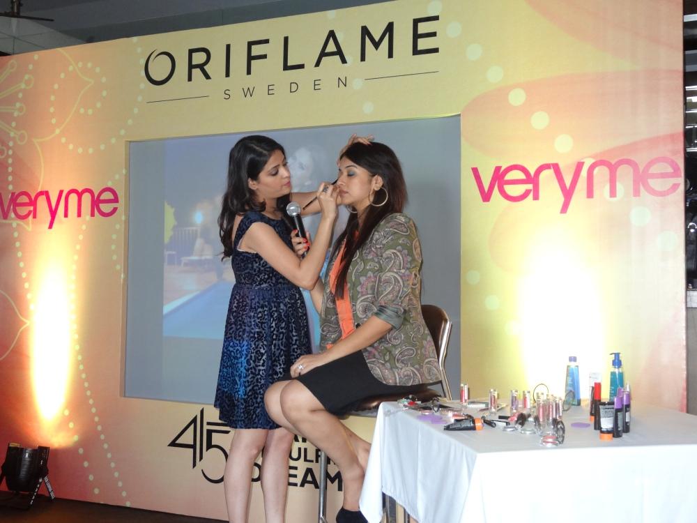 Akriti Kochar demonstrating a look with the new range