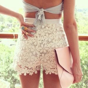 High Waisted Lace Shorts