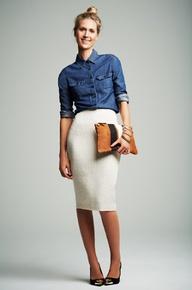 Pencil Skirt + Chambray Shirt