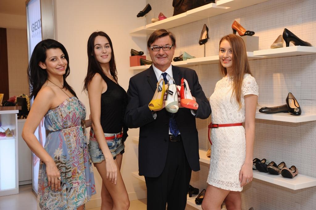 Model Devika Raizada,Model  Lisa Mishina, Mr. Mario Moretti Polegato, President and founder of Geox  and Model Oxana Gufu