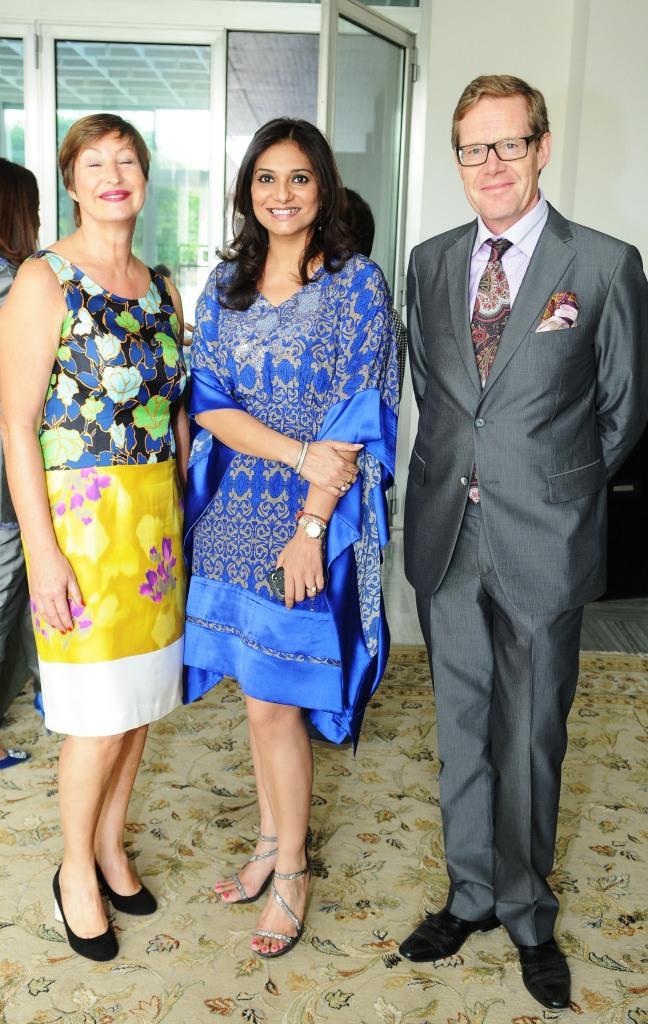 L-R Madame Françoise Gardies , Charu Parashar , HE The Swiss Ambassador  Linus Von Castelmur
