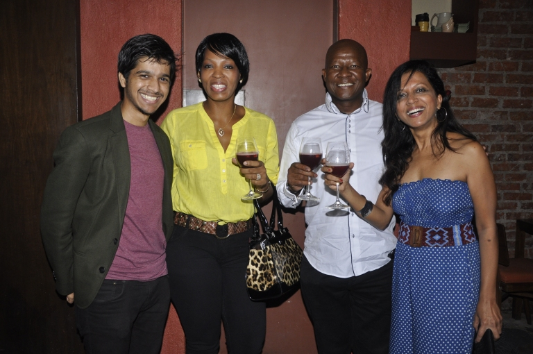 Singer Merlyn and Rhys with Consulate General of South AFrica Pule and Lerato at Poco Loco 1st Anniversary Party