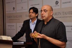 Vivek Ramabhadran, Managing Director, Swarovski Professional, Swarovski India Pvt. Ltd. with Tarun Tahiliani at the Tarun Tahiliani Couture Exposition, 2013 in Mumbai