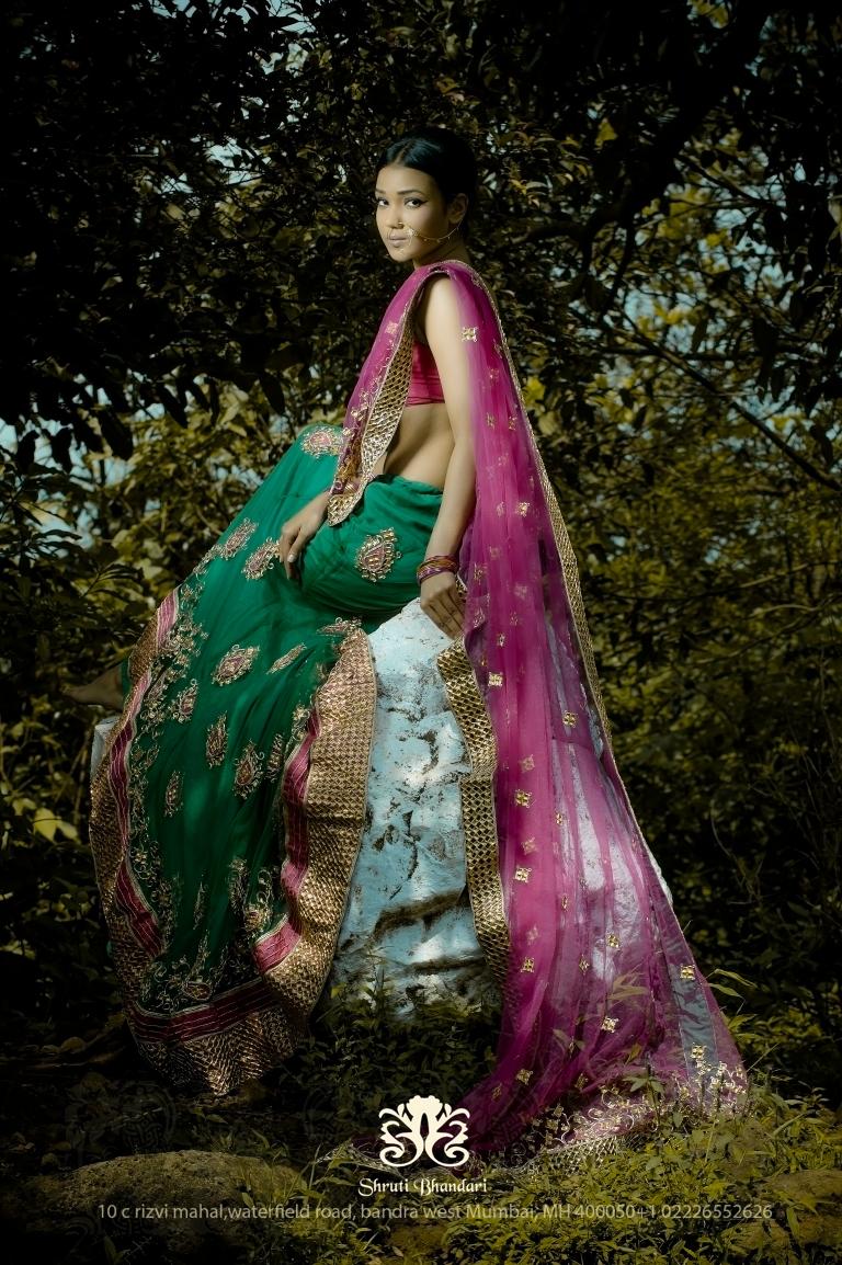 Model Arlette Grao designer Shruti Bhandari's Green Lehenga