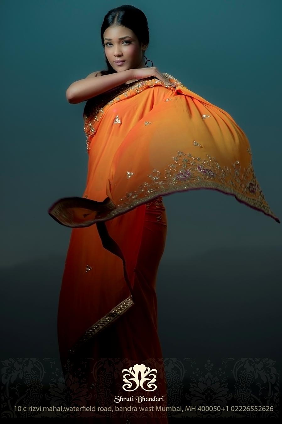 Model Arlette Grao in Designer Shruti Bhandari's Orange Saree