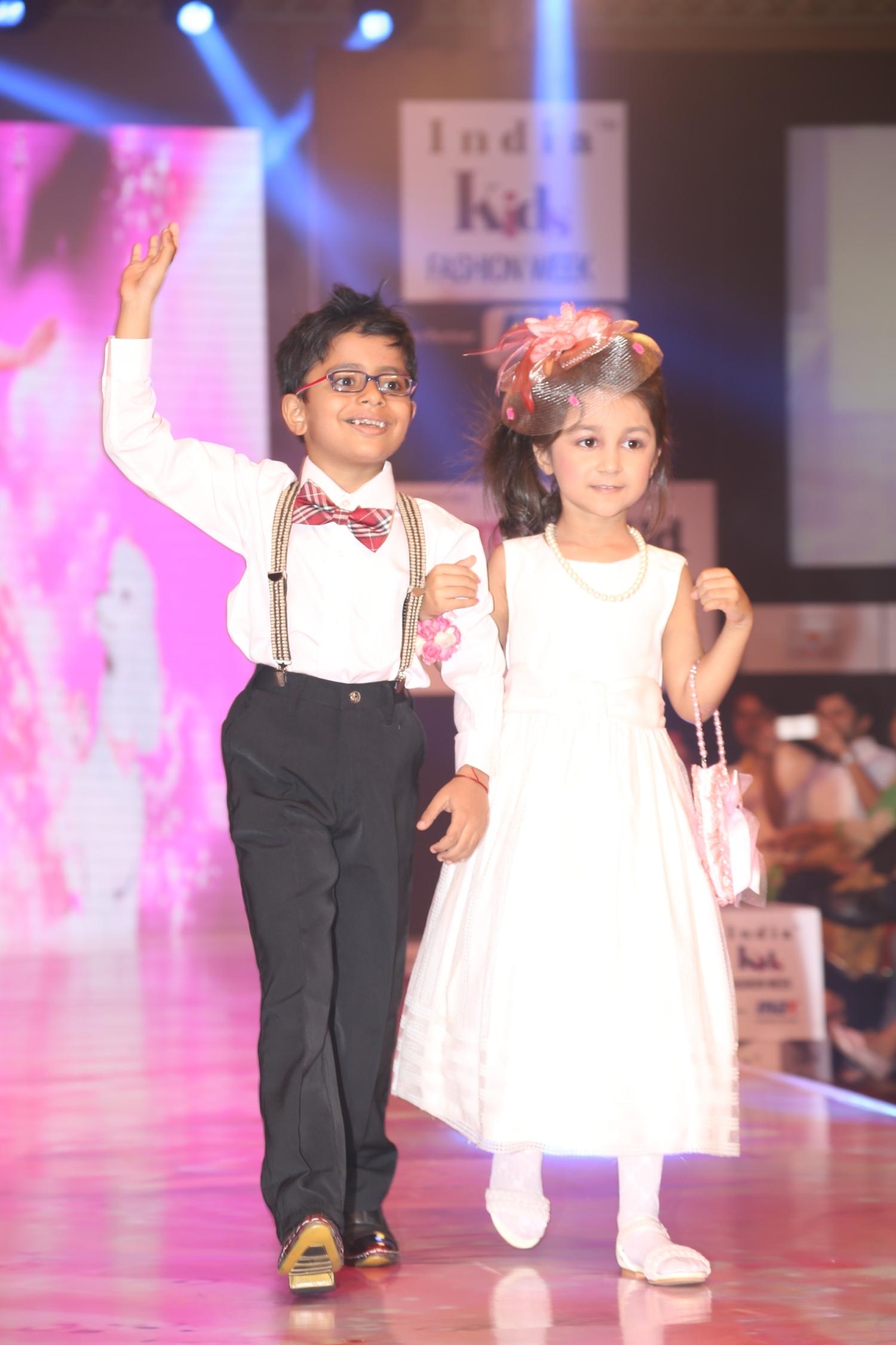 Kids walking the ramp for Designer Sheena Creations at Day 1 of India Kids Fashion Week