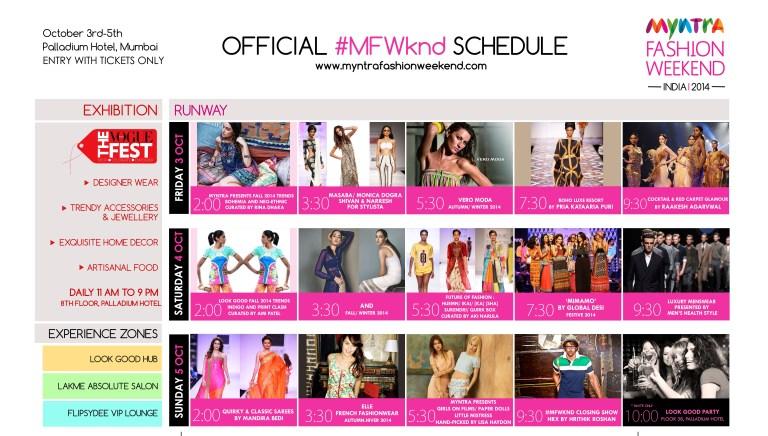 Myntra Fashion Week Runway Schedule